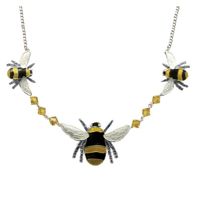Bumble Bee Cloisonne Crystal Necklace | Nature Jewelry