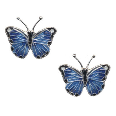 Blue Morpho Butterfly Cloisonne Post Earrings | Nature Jewelry