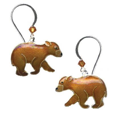 Bear Cub Cloisonne Wire Earrings   Nature Jewelry