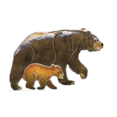 Bear and Cub Cloisonne Pin | Nature Jewelry