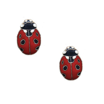 Ladybug Cloisonne Post Earrings | Nature Jewelry