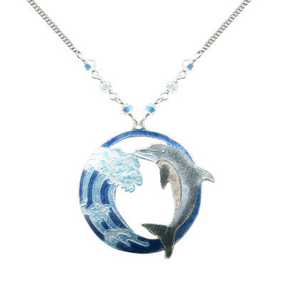 Hokusai Dolphin Wave Necklace | Nature Jewelry
