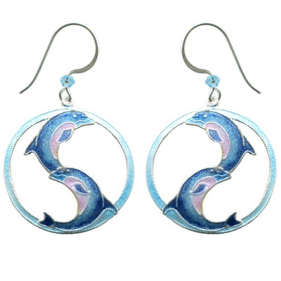 Ying Yang Dolphin Wire Earrings | Nature Jewelry
