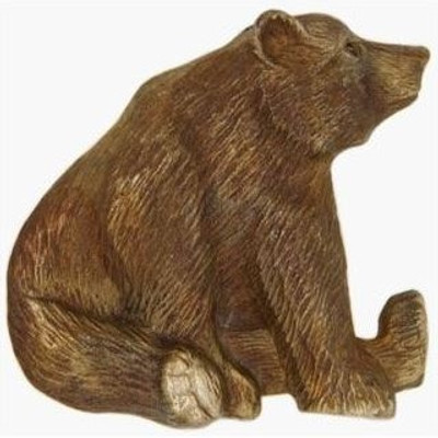 Sitting Grizzly Bear Bronze Pin   Nature Jewelry