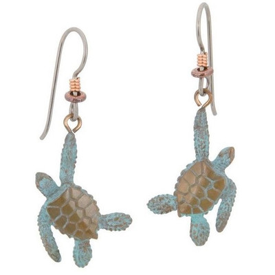 Sea Turtle Bronze Earrings | Nature Jewelry
