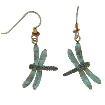 Green Dragonfly Wire Earrings | Nature Jewelry