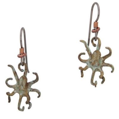 Octopus Bronze Fish Hook Earrings | Nature Jewelry