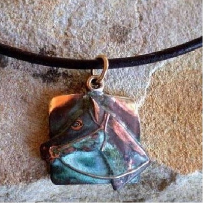 Horse Head Verdigris Brass Necklace | Nature Jewelry