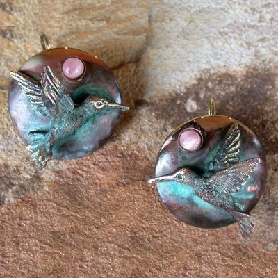 Hummingbird Verdigris Brass Earrings | Nature Jewelry
