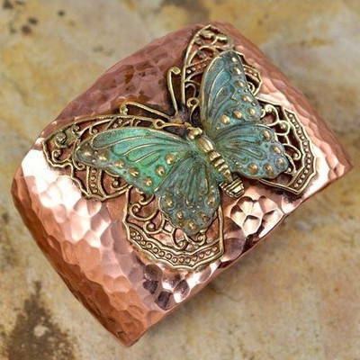 Butterfly with Filigree Cuff Bracelet | Nature Jewelry