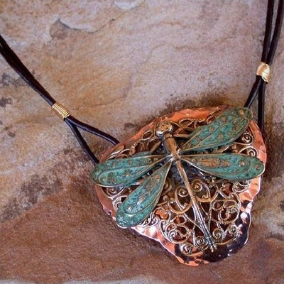 Dragonfly Neo-Victorian Filigree Pendant Necklace | Nature Jewelry