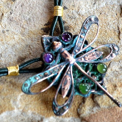 Dragonfly Pendant Rawhide Necklace | Nature Jewelry