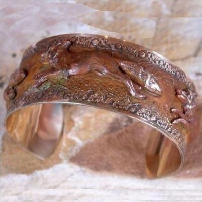 Quick Shop Fox Solid Brass Cuff Bracelet Nature Jewelry