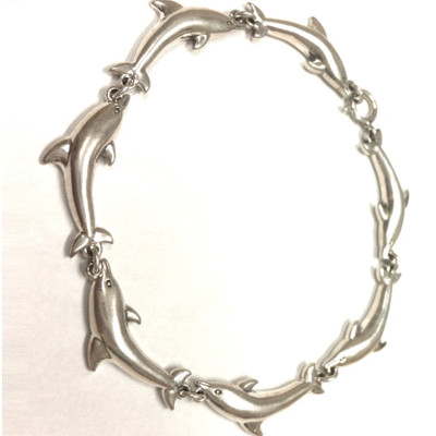 Dolphin Sterling Silver Link Bracelet | Nature Jewelry