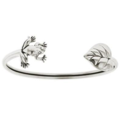 Frog & Leaf Sterling Silver Tube Bracelet | Nature Jewelry