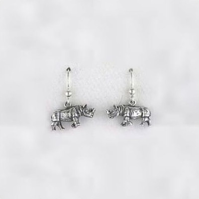 Rhino Sterling Silver Wire Earrings | Nature Jewelry