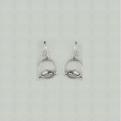 Dolphin Circle Sterling Silver Wire Earrings | Nature Jewelry