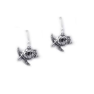 Sea Turtle Sterling Silver  French Wire Earrings | Nature Jewelry