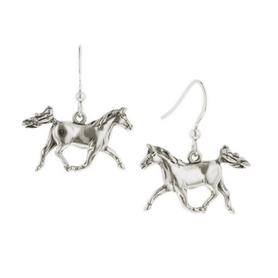 Prancing Horse Sterling Silver Wire Earrings | Nature Jewelry