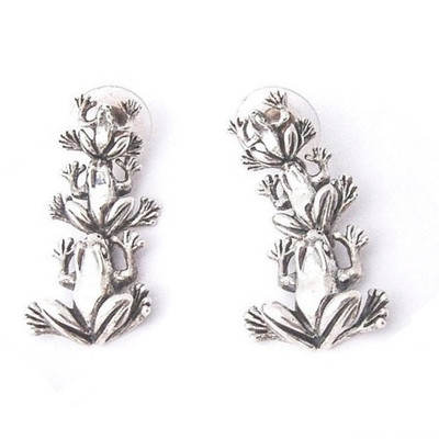 Frog Sterling Silver Dangle Earrings | Nature Jewelry