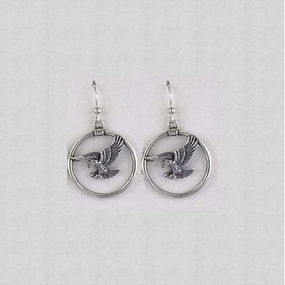 Eagle Circle Sterling Silver Wire Earrings | Nature Jewelry