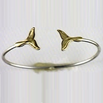 Whale Tail 14K Gold & Sterling Silver Bracelet | Nature Jewelry