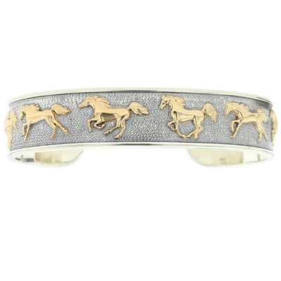 Running Horse 14K Gold Sterling Silver Cuff Bracelet | Nature Jewelry