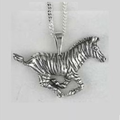 Zebra Pendant Sterling Silver Necklace | Nature Jewelry