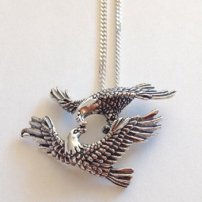 Mating Eagles Sterling Silver Pendant Necklace | Nature Jewelry