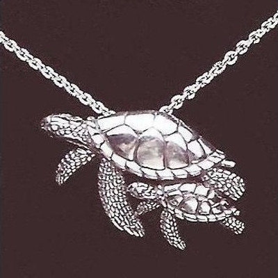 Turtle Mother and Baby Sterling Silver Necklace | Nature Jewelry