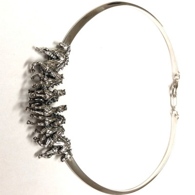 Horse Herd Sterling Silver Neck Collar Necklace | Nature Jewelry