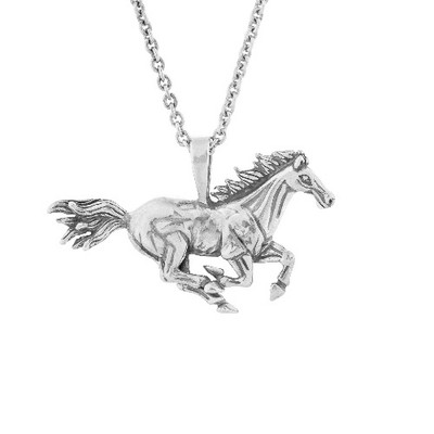 Galloping Horse Pendant Sterling Silver Necklace | Nature Jewelry