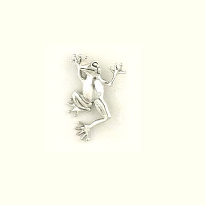 Dancing Frog Sterling Silver Pin | Nature Jewelry