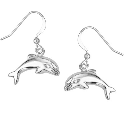 Puffed Dolphin Sterling Silver Wire Earrings | Nature Jewelry