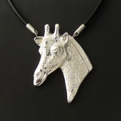 Giraffe Sterling Silver Necklace | Nature Jewelry