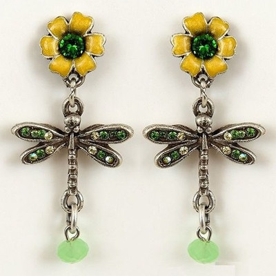 Flower and Dragonfly Earrings | Nature Jewelry
