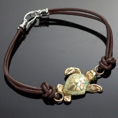 Loggerhead Sea Turtle Bronze Bracelet | Nature Jewelry