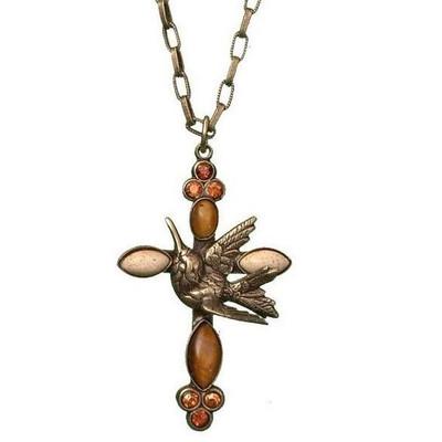 Hummingbird Cross Necklace | Nature Jewelry