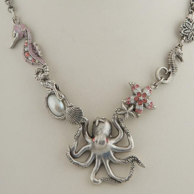 Octopus Sea Horse Rose Chunky Necklace | Nature Jewelry