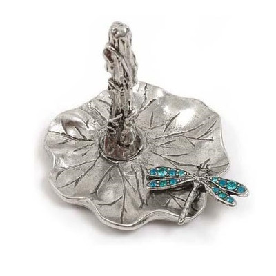 Dragonfly on Lily Pad Ring Stand | Nature Jewelry