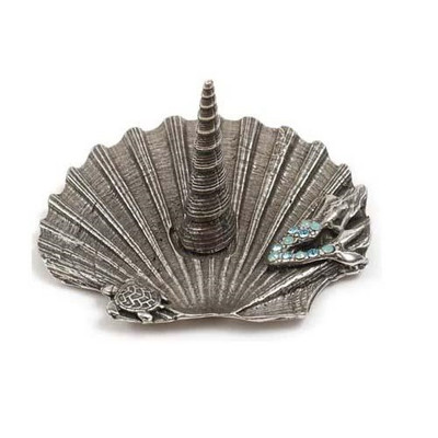 Mermaid and Turtle on Shell Ring Stand   Nature Jewelry