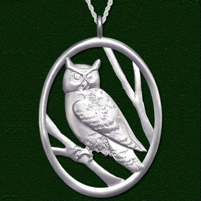 Owl Pewter Pendant Necklace Large | Nature Jewelry