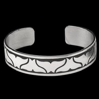 Double Whale Tail Silver Cuff Bracelet | Nature Jewelry