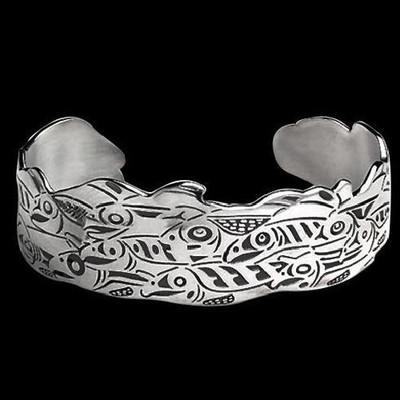 Salmon Run Tribal Sterling Cuff Bracelet | Nature Jewelry