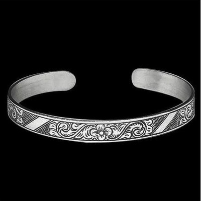 Tribal Flower Sterling Silver Thin Cuff Bracelet |  Metal Arts Group Jewelry | MAG12196