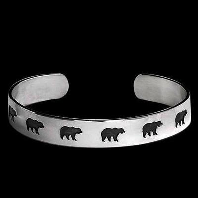 Bear Shadows Sterling Silver Bracelet   Nature Jewelry