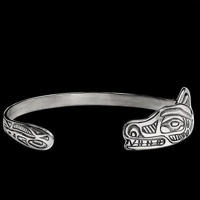 Wolf Tribal Sterling Silver Wrap Bracelet | Nature Jewelry