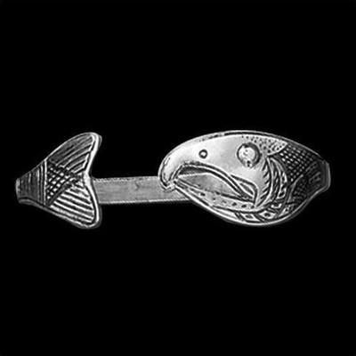 Salmon Tribal Sterling Silver Wrap Bracelet | Nature Jewelry