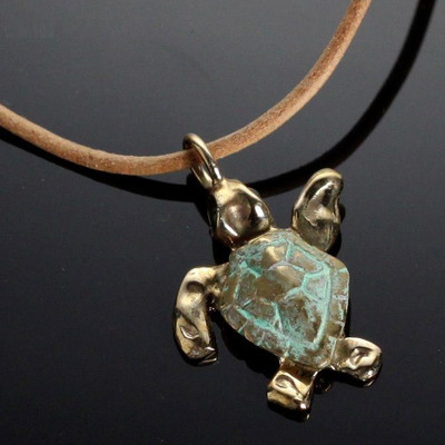 Baby Loggerhead Sea Turtle Bronze Necklace   Nature Jewelry