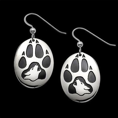 Wolf Print Sterling Silver Earrings | Nature Jewelry